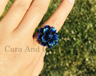 Light Blue and Red Adjustable Flower Ring