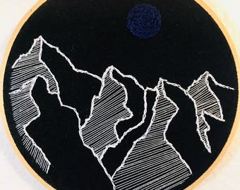 Blue Moon Mountains Embroidery. Hoop Art. Hand Embroidery. Gifts under 25. Mountain Art.