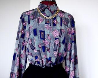 Vintage Violet Diamond print polyester Blouse. size M/L