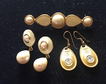 1990s set of 3 barette and earrings