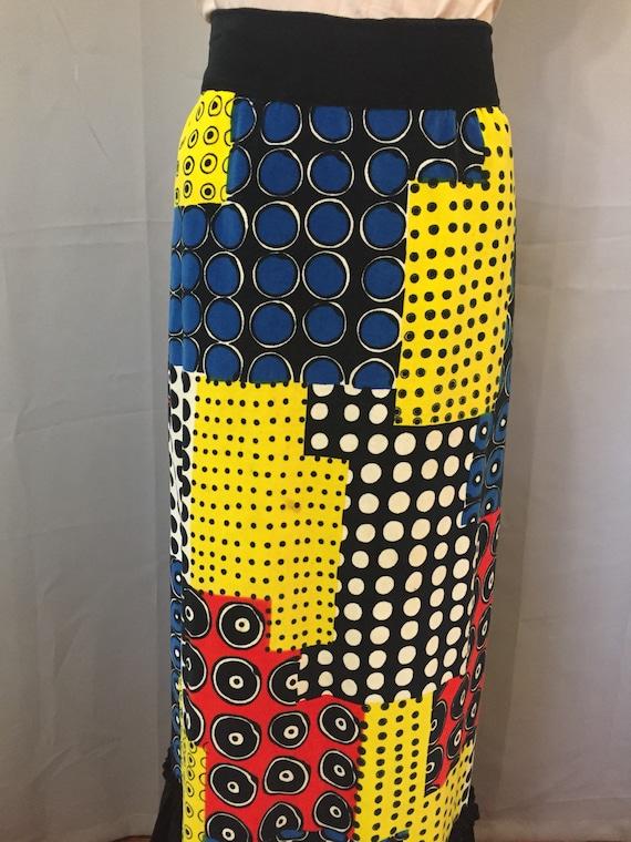 Tribal print skirt with velvet detail, 1990s mAxi