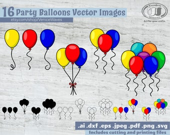 Party Balloons SVG, Party Balloons Cut File, Party Balloons Clipart, Party Balloons PDF, Party Balloons Download, Digital Download