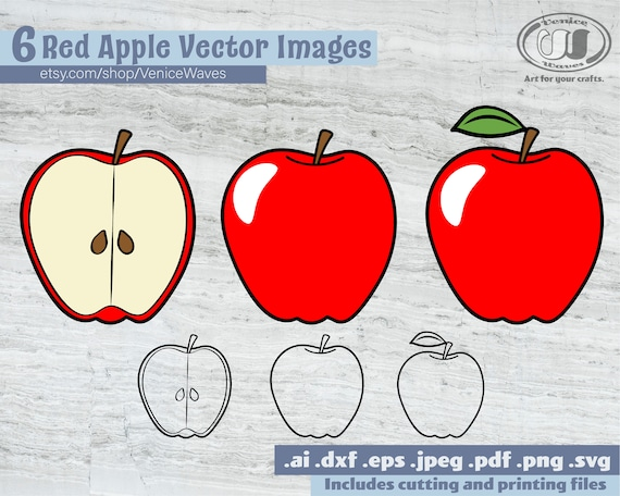 Red Apples Clipart Apple Cut File Printable Apple Apple Etsy