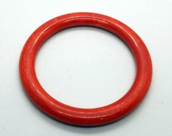 Vintage Red Bakelite Bangle / Spacer Bangle Bracelet / Marbled Red Bakelite / 1970's / Vintage Bakelite