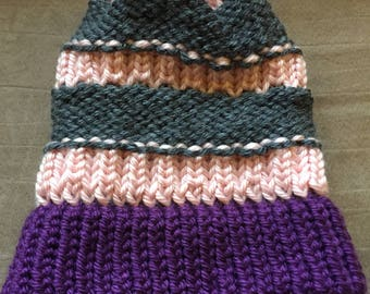 Striped Slouchy Knitted Hat
