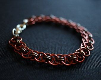Pumpkin Patch: Colored Enameled Copper Chain Mail Bracelet with Sterling Silver Clasp