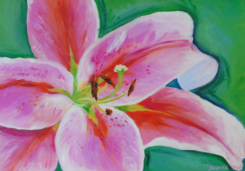 Original acrylic painting lily flower etsy zoom izmirmasajfo