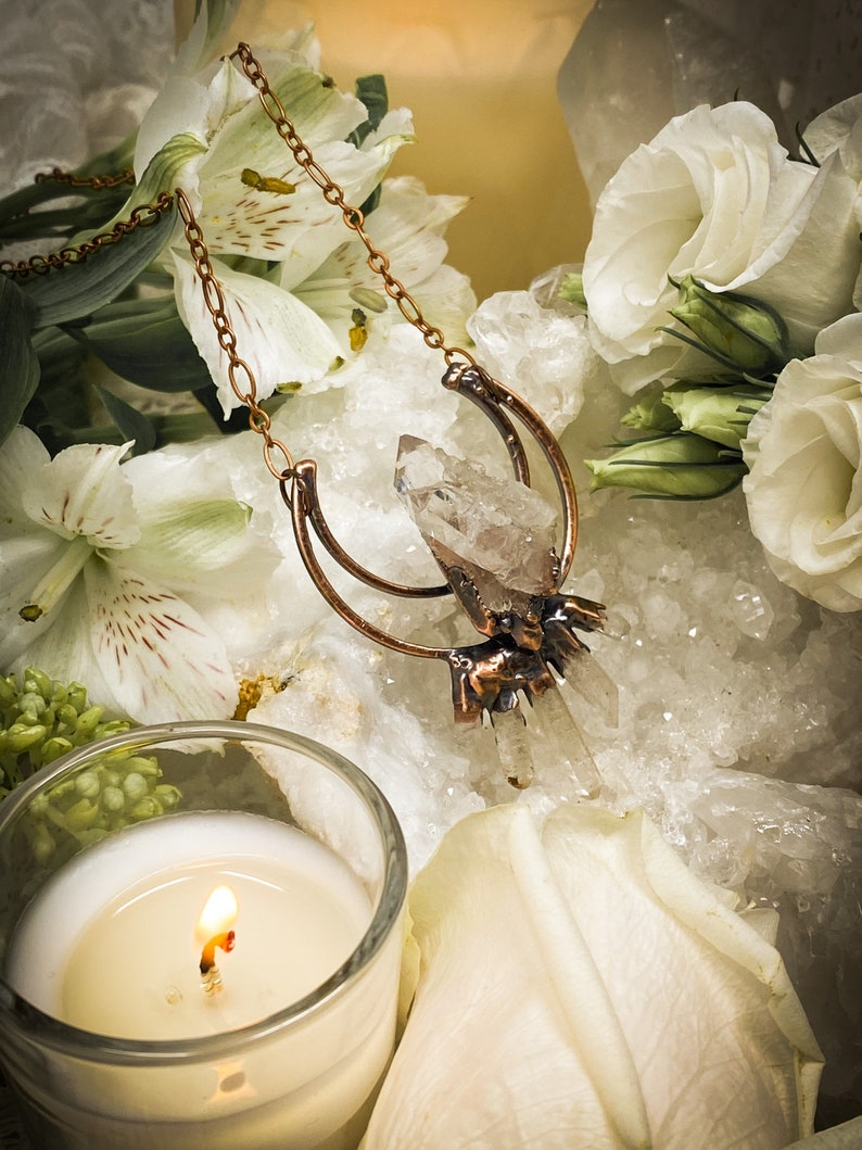 Copper Statement Necklace Moon Necklace Quartz Cluster Electroformed Jewelry Quartz Pendant