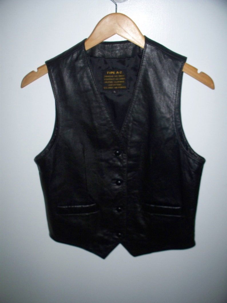 81cf191dd732a Type A-2 Black Leather Fitted Vest Military Clothing US Army Air Force Size  S/M