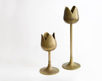 mid century modern tulip brass candlestick holders // solid brass made in india