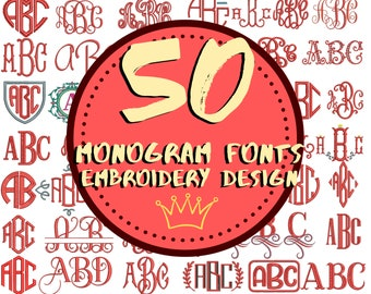 Monogram Embroidery Font | Mega Bundle | Embroidery Monogram Font | All Fornats | Dst Exp Hus Jef Pes Pcs Shv Vip Xxx Stickdatei Schrift