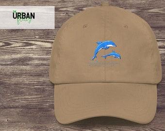 ef89f62b46560 Dolphin Embroidered Dad Hat Trendy Dad Hats Adjustable Tumblr Dad Hat  Vintage Baseball Dad Cap