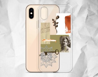 93eea7a3f3 Vintage Aesthetic Collage Clear Phone Case For iPhone 6 6S 7 8 Plus X 10 XR  XS Max Best Artsy Mood Board Cover With Tumblr Design