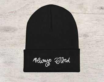 Post Malone Embroidered Beanies Always Tired Unisex Fitted Beanie Hat d3cdcda05f19