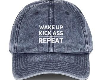 Wake Up Kick Ass Repeat Embroidered Dad Hat Trendy Dad Hats Black Denim  Maroon Dad Hat Vintage Baseball Dad Cap 2fbab662afc9