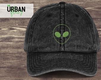 f25f3a5892c Alien Embroidered Dad Hat Trendy Dad Hats Black Denim Maroon Dad Hat  Vintage Baseball Dad Cap