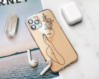 Minimal Line Art Clear Phone Case With Simple Design For iPhone 7 8 SE 2020 12 11 Pro Max X XS XR