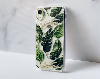 Palm Leaf Case For iPhone 12 Mini 11 Pro Max XR XS 7 8 Plus SE 2020 Clear Cover With Tropical Palmetto Boho Leaves Design Galaxy S20 Fe S21