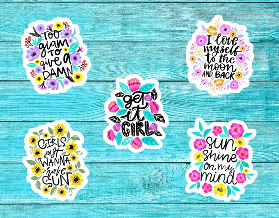 Sassy Quotes Waterproof Vinyl Cute Sticker For Waterbottle Laptop High  Quality Single Bumper Tumblr Sticker Girls Flower Floral Sayings