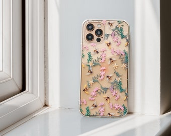 Cute Embroidered Stitched Bees Print Case For iPhone 13 12 Mini 11 Pro Max XR XS X 7 8 Plus Clear Cover With Design Galaxy S20 Fe S21 Ultra