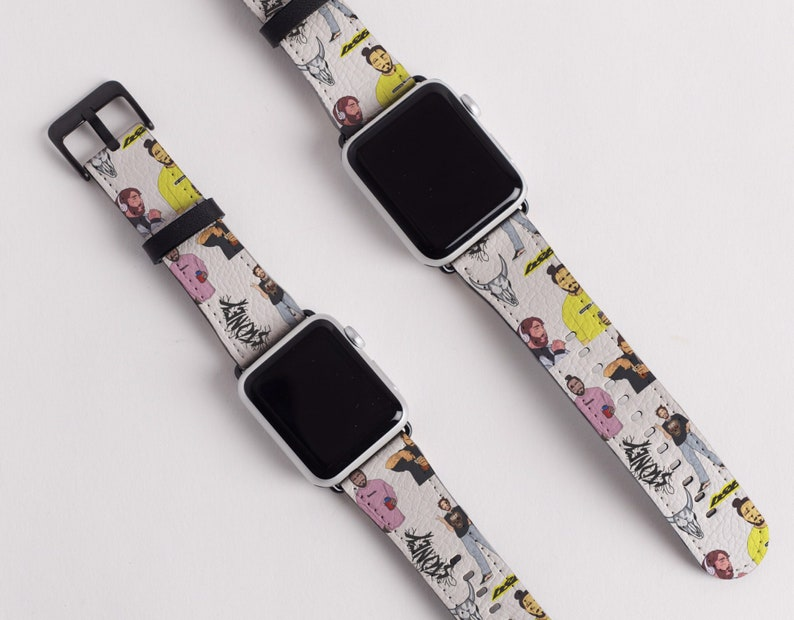1db60063f7 Post Malone Vegan Leather Apple iWatch Band 38mm 40mm 42mm 44mm Bands Gift  Idea Black Rose Gold Silver