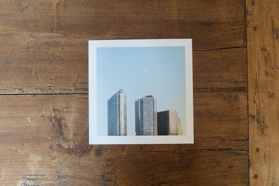 Long Island City's skyline and the moon - Fine art square print