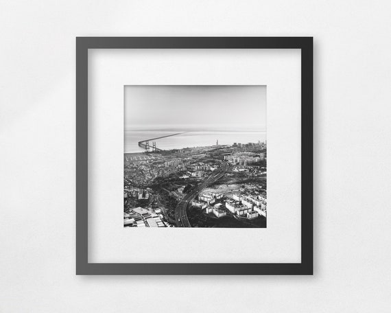 Lisbon and Vasco Da Gama bridge - Fine Art Square Print - unframed