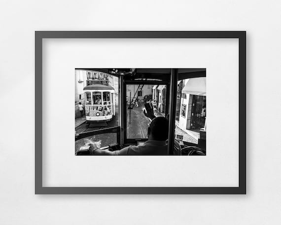 Trams In Alfama, Lisbon - Fine Art print - unframed