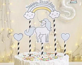 1Set Unicorn Happy Birthday Cake Cupcake Topper Decoration Candle