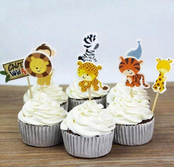 Super 24Pcs Wild Animal Cupcake Cake Topper Fun Party Decoration Zoo Etsy Funny Birthday Cards Online Amentibdeldamsfinfo