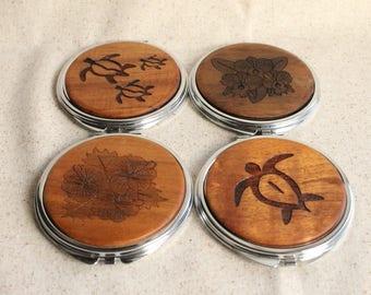 Handmade Hawaiian Koa Compact Mirror
