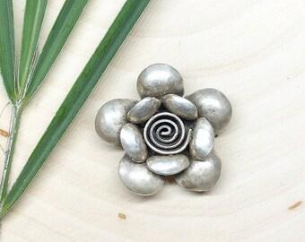 Karen Hilltribe Sterling Silver Flower Pendant from Chiang Mai Thailand