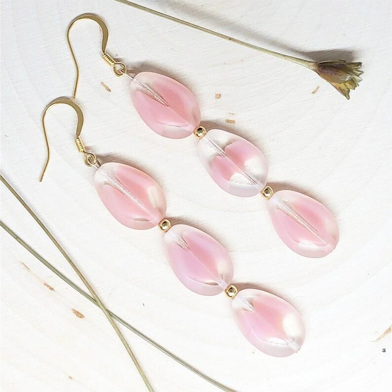 Pink Earrings Drop Earrings Teardrop Teardrop Crystal 14k Gold Plated