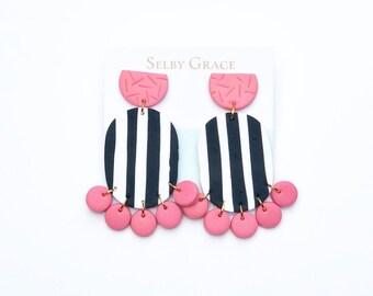 SALE Bella Oval Stripe Pink