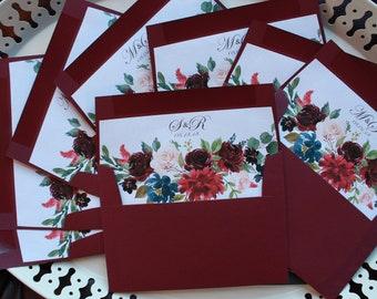 Burgundy Wedding - Lined Envelopes (packs of 10)