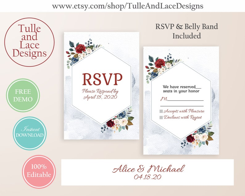 Digital Wedding Invitation Template Set Editable with Instant Download Dusty Blue and Red Floral Watercolor
