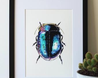 Beetle print | Giclée, A4 Print, Watercolour, Blue, Purple, Rainbow, Entomology, Insect Print.