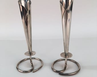 Pair of Silver Lily Candle Holders Denmark Danish Modern MCM Eames Era