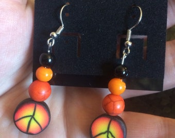 Black/Orange Peace Earrings