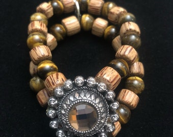 Tiger's Eye & Wood Beaded Bracelet