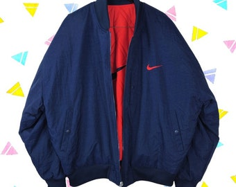 be8f89394834 REVERSIBLE Nike Vintage 90s Quilted Bomber Jacket - XL