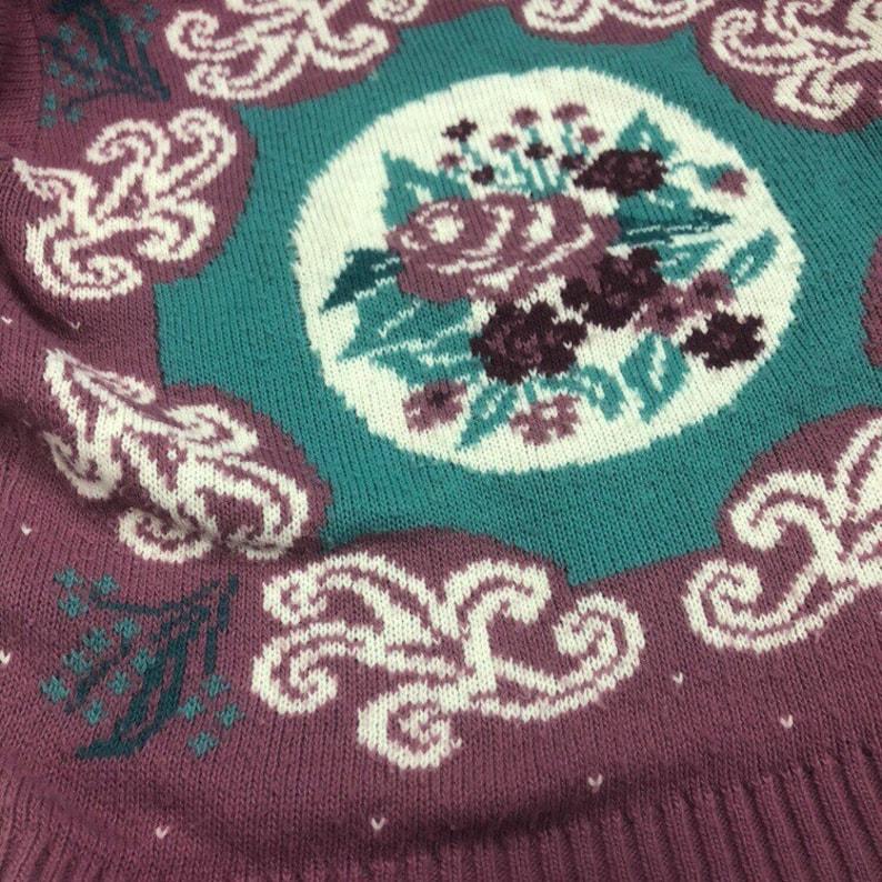 Vintage Floral Brocade Knit Grandma Sweater
