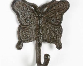 Vintage Butterfly Wall Hook - Cast Metal