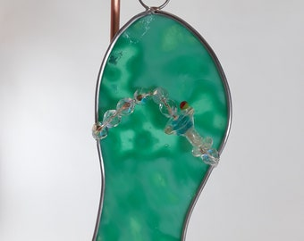 Turquoise Stained Glass Flip Flop with Glass Martini Bead