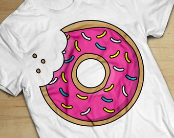 Pink Donut T-Shirt | Graphic Print | Cute Tee | Unisex Mens Womens