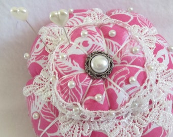 Pincushion, Pink Lace Pin Keep, Sewing Accessory, Handmade Pincushion, Shabby Chic Decor, Seamstress Gift, Quilters Gift