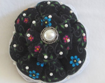 Pincushion, Black with Florals Pin Keep, Sewing Accessory, Handmade Pincushion, Shabby Chic Decor, Seamstress Gift, Quilters Gift