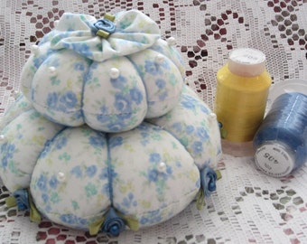 Pincushion, Blue Rose Pin Keep, Sewing Accessory, Handmade Pincushion, Shabby Chic Decor, Seamstress Gift, Quilters Gift