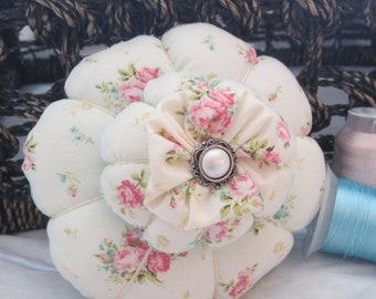 Pincushion, Roses and Turquoise Pin Keep, Sewing Accessory, Handmade Pincushion, Shabby Chic Decor, Seamstress Gift, Quilters Gift