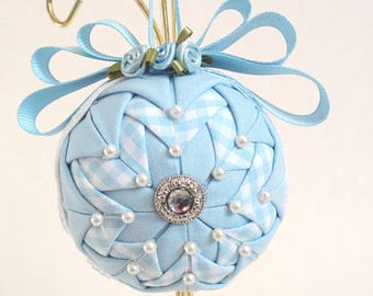 Stunning Blue Ornament, Springtime Ornament, Quilted Ornament Ball, Blue Gingham, Easter Ornament, Christmas Ornament
